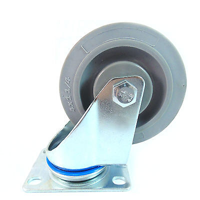 "Swivel Plate Caster with 4"" Non Marking Soft Gray Rubber TPR Wheel-CTPR4SS"