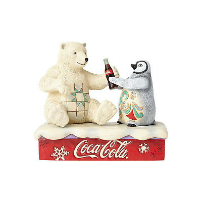 Jim Shore Coca Cola Polar Bear & Penguin Friendship goes Better w/ Coke 4059474