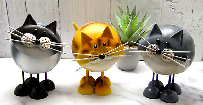Metal Cat Ornament Garden Figurine Ginger Grey Black Bobbin Cat Ornaments Gift