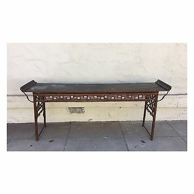Antique Bamboo Altar Table China 19th Century Furniture Long Console Table