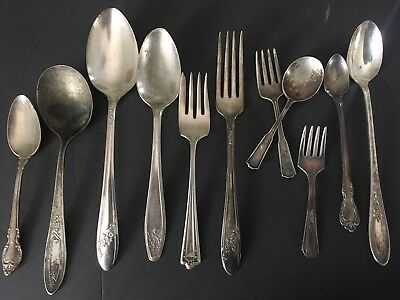 Mixed Lot Antique/Vintage Silver Plate Flatware 11 Pc.