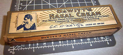 Vintage Dewitts Nasal Cream box, (empty) great old graphics, woman with tube