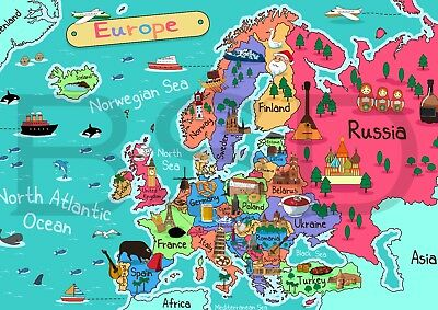 Kids Map Of Europe Educational Geography School Poster Print A4 A3 Uk England