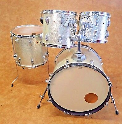 Vintage 1980's Ludwig USA Maple 4pc Drum Set Kit Shell Pack Silver Sparkle