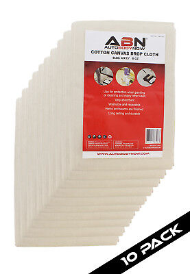 ABN Premium 4x15 Ft Medium Canvas Drop Cloth 10-Pk All Purpose Paint Shield