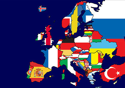 Map Of The Europe Wall Art With Flags New Design 2017 Poster Print A4 A3