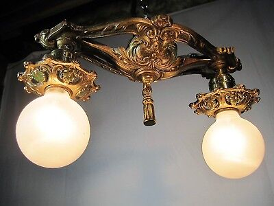 Chandelier Antique Restored  Polychrome 2 Light Bronze Gold 5 Light Available