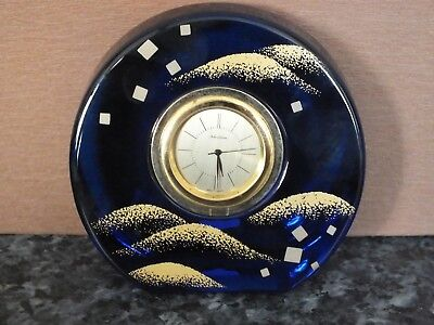 Noritake Gorgeous Blue Rounded Crystal Clock made in Japan Y95077 Very Rare