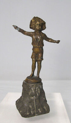 Antique Bronze Playful Fishing Boy Sculpture Statue Signed  yqz
