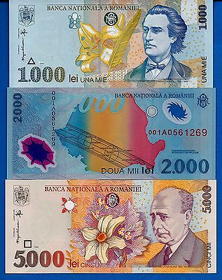 Romania 1000, 2000, 5000 Lei Uncirculated Banknotes Set # 1