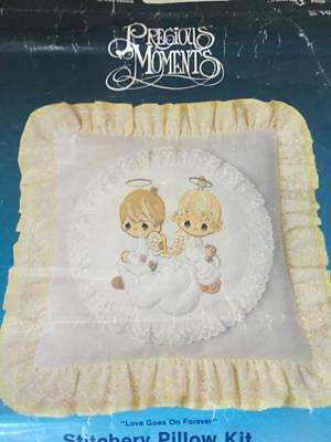 VINTAGE EMBROIDERY/PILLOW KIT / 1980's' PRECIOUS MOMENTS' /ANGEL /COLLECTABLE