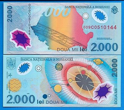 Romania P-111a 2000 Lei Year 1999 Eclipse Uncirculated Banknote Europe