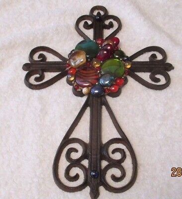 Vintage Ornate Decorative Cast Iron Cross with Glass Stones