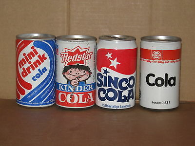COLA - 4 different empty cans 80's, 90's