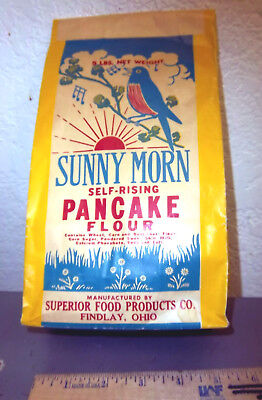 Vintage Sunny Morn pancake flour bag, Findlay Ohio, great colors & graphic logo