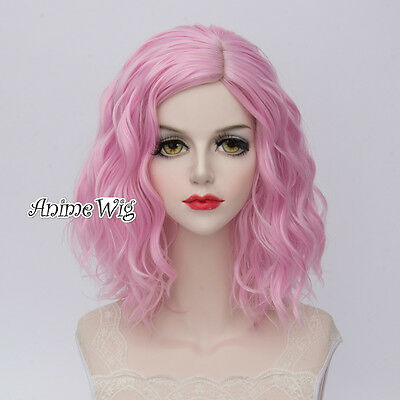 Lolita Light Pink Short 30CM Curly Fashion Party Women Cosplay Wig + Wig Cap