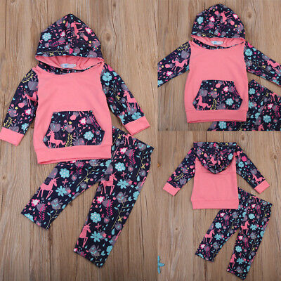 Newborn Baby Kids Girls Hoodie Hooded Top T-shirt+Pants Outfit Clothes Set 6M-3Y