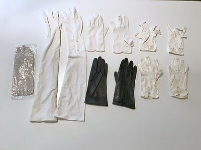 Vintage Lot Of 6 Pairs of Women's Gloves 4 Leather 1 New Others Used