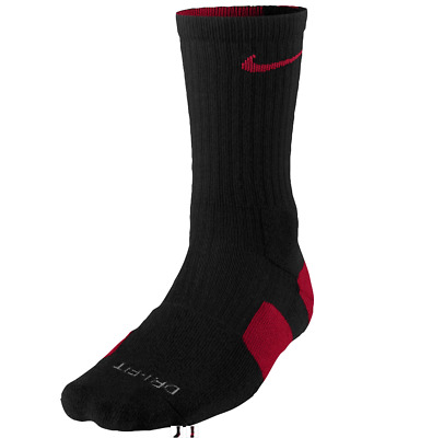 NEW Boy's Nike Elite Basketball Crew Socks Size: Small Color: Black/Red