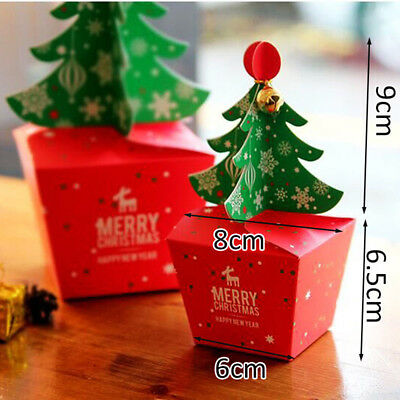 Hot Merry Christmas Tree Bell Party Paper Favour Gift Sweets Carrier Bags Boxes