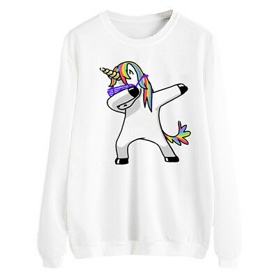 Women Cartoon Unicorn Halloween White Round Neck Hoodie Long Sleeve Top Clothes