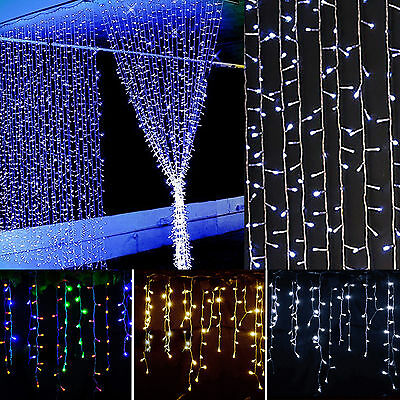 5M 216LED Icicle Hanging Curtain LED String Light Fairy Christmas Party Decor