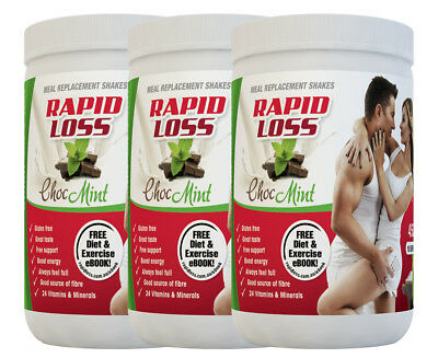 3 x Rapid Loss Meal Replacement Shakes Choc Mint 450g