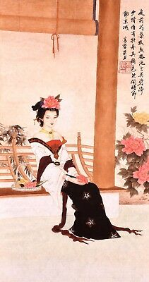 100% ORIGINAL ASIAN ART CHINESE FIGURE WATERCOLOR PAINTING-Antique Beauty&Flower