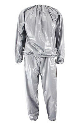 D46 Heavy Duty Fitness Weight Loss Sweat Sauna Suit Exercise Gym Anti-Rip Silver