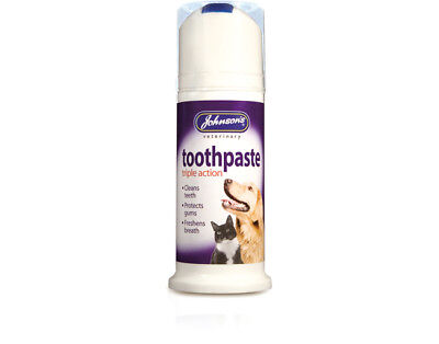 Johnsons Dog Cat Toothpaste Triple Action 50g Cleans & Freshens Pet Teeth JVP
