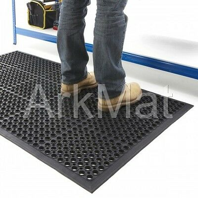 2 x Large Rubber Workplace Anti Fatigue Factory Flooring mats 3ft x 5ft x 12mm