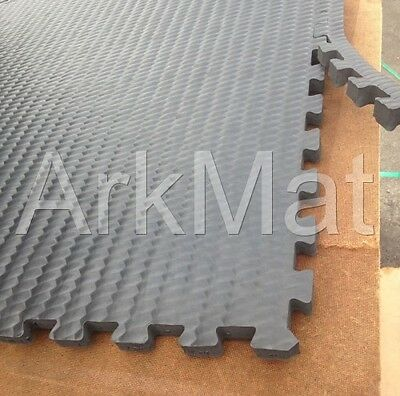 ArkSupersoft Gym Mat EVA 24mm Thick 1m x 1m INTERLOCKING Safety Mat Thick Black