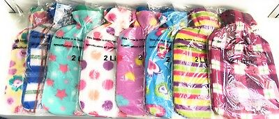 2L Large Hot Water Bottle Quality Hot Water Bottles With  Soft Flowers Cover