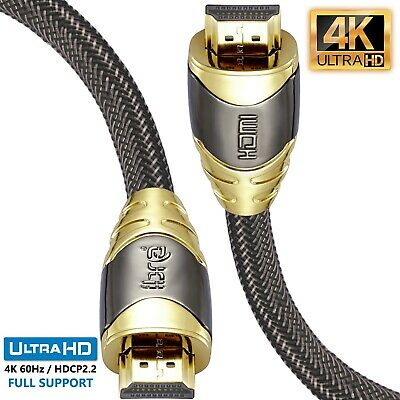 3M(2PACK)LUXURY Braided HDMI Cable v2.0 1.4a GOLD Ultra HDTV 3D 2160P 4K ARC PS4