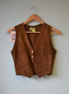 Vintage womens tan suede leather vest small size 8