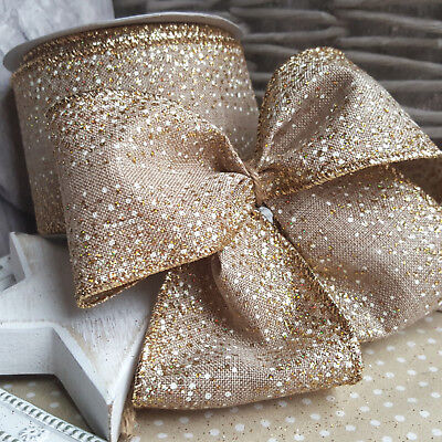 Wired Hessian Gold & White Glitter Dots Speckled Christmas Ribbon Xmas Tree Dot
