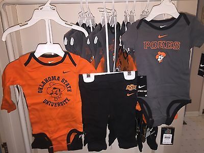 Oklahoma State OSU Pokes Three Piece Outfit 3/6 & 6/9 Months NIKE NWTs Reg $36