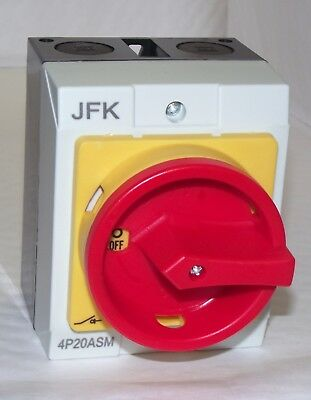 Isolator Switch 20 amp 4 Pole IP65 400 Volt 3 Phase Water & Dust Proof