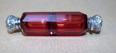 A Victorian Ruby Glass And Silver Double Scent/ Smelling Salts Bottle Circa 1870
