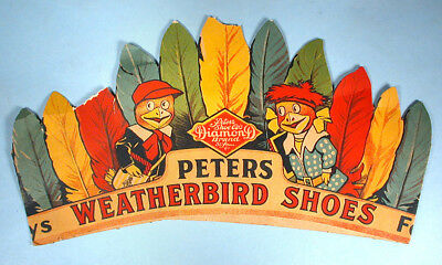 1920-30s Peters Weatherbird Shoes Toy Indian headdress Store Advertising Premium