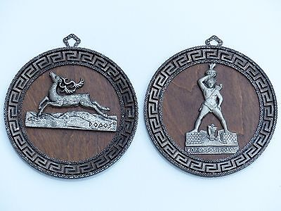 Greek Mythology Deer Colossus Of Rhodes Koaossos Podos Oval Pewter On Wood 5.5""
