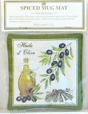 4Alice's Cottage Cotton Scented Spiced Mug Mat Coaster Olives & Oil - NEW