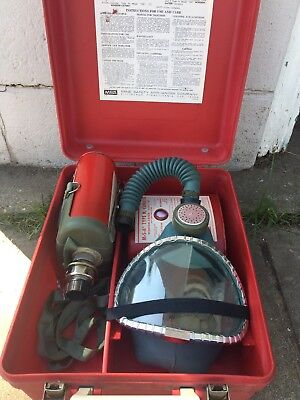 MSA All Service Gas Mask Model S w Clearvue Facepiece Window-Cator Cannisters