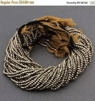 5 Strand Natural Pyrite Sparkling Finest Quality Faceted Genuine Gemstone Beads