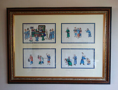 Chinese Figure Paintings on Rice Pith Paper Antique Qing Dynasty Export Framed