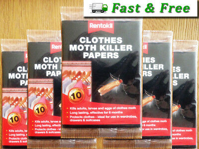 Clothes Moth Killer Papers packs of 10, KILLS ADULT MOTHS, LARVAE AND EGGS.