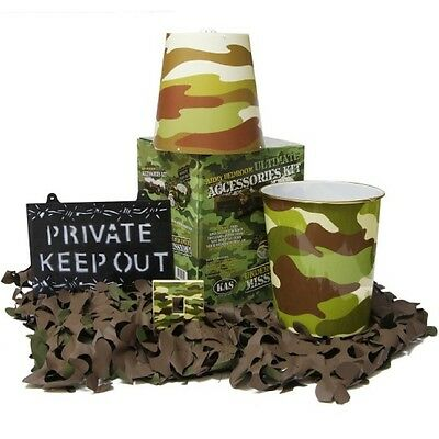 Kids Army 5 Piece Camouflage Bedroom Set Sign Light Shade Bin Camo Net Boys