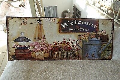 Shabby Blechschild Bild Welcome To Our Home Blümchen 20x50 Retro Antiklook NEU n