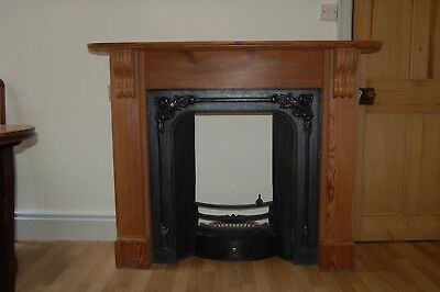Cast Iron Victorian Fireplace and Woodern Mantle