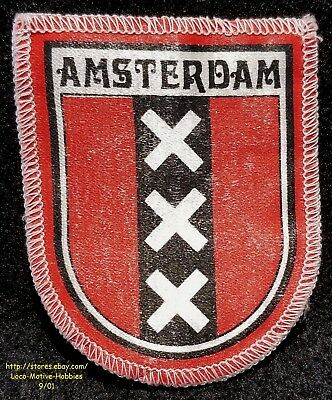 LMH PATCH Woven Badge AMSTERDAM XXX Coat Arms NETHERLANDS Silver Cross Red Bars